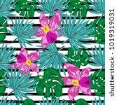 seamless pattern with tropical... | Shutterstock .eps vector #1019319031