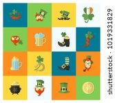 saint patricks day icon set.... | Shutterstock .eps vector #1019331829