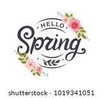 hello spring typography vector ... | Shutterstock .eps vector #1019341051
