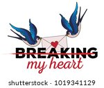 breaking my heart   grunge... | Shutterstock .eps vector #1019341129
