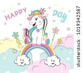 a beautiful unicorn sits on a... | Shutterstock .eps vector #1019342587