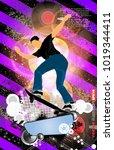 skateboarder  sport background | Shutterstock .eps vector #1019344411