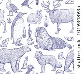 seamless pattern with arctic... | Shutterstock .eps vector #1019348935