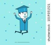 happy graduate student jumps in ... | Shutterstock .eps vector #1019351521