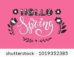 vector hello spring greeting... | Shutterstock .eps vector #1019352385