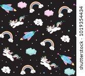 the unicorn flies on a rocket... | Shutterstock .eps vector #1019354434