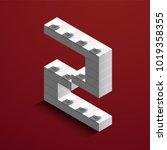 realistic white 3d isometric... | Shutterstock .eps vector #1019358355