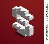 realistic white 3d isometric... | Shutterstock .eps vector #1019358367