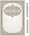 vintage frame with beautiful... | Shutterstock .eps vector #1019360074