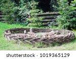 flowerbed fenced by low wicker... | Shutterstock . vector #1019365129