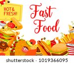 fast food snack and drink... | Shutterstock .eps vector #1019366095