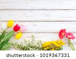colorful flowers on vintage... | Shutterstock . vector #1019367331