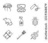 Pest control linear icons set. Flea, respirator, cockroach repellent, mouse trap, rodent, bed bug, snake, fly-swatter. Thin line contour symbols. Isolated raster outline illustrations