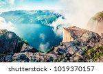 misty morning view of popular... | Shutterstock . vector #1019370157