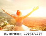 beauty young woman outdoors... | Shutterstock . vector #1019371399