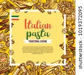 italian pasta poster with... | Shutterstock .eps vector #1019372095