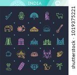 india icons set. indian... | Shutterstock .eps vector #1019375221