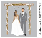 cute glamour wedding couple... | Shutterstock .eps vector #1019376241