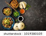 asian assorted food set  dark... | Shutterstock . vector #1019380105