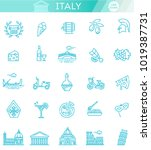 italy icons set. tourism and... | Shutterstock .eps vector #1019387731