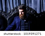 bearded man with serious face... | Shutterstock . vector #1019391271