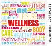 wellness word cloud collage ...   Shutterstock .eps vector #1019391691