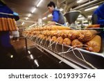 production of boiled sausages... | Shutterstock . vector #1019393764