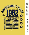 chicago awesome team t shirt...   Shutterstock .eps vector #1019395957