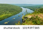 landscape with a river and... | Shutterstock . vector #1019397385