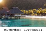 tropical landscape   huts on... | Shutterstock . vector #1019400181