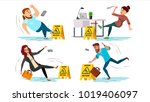 slip wet floor. caution wet... | Shutterstock .eps vector #1019406097
