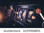 Row of Vegas Slot Machine 3D Rendered Illustration with Depth of Field. One Handed Bandits Casino Games. - stock photo