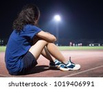 asian girl are resting after... | Shutterstock . vector #1019406991
