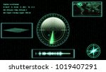 submarine sonar with target on... | Shutterstock . vector #1019407291