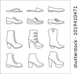 a set of simple outline shoes... | Shutterstock .eps vector #1019410471