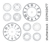 clock face set with roman and... | Shutterstock .eps vector #1019410477