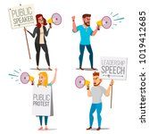 people shouting through... | Shutterstock . vector #1019412685