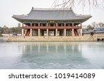 gyeonghoeru pavilion in winter... | Shutterstock . vector #1019414089