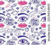 valentine's day. blue doodle... | Shutterstock . vector #1019414845