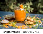 close up of carrot juice or... | Shutterstock . vector #1019419711