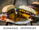 hamburger with cheddar cheese | Shutterstock . vector #1019426164