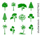set of green tree icons.... | Shutterstock .eps vector #1019427661