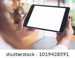 mockup image of woman's hands... | Shutterstock . vector #1019428591
