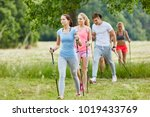 group in the nature nordic... | Shutterstock . vector #1019433769