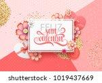 happy valentines day. phrase... | Shutterstock .eps vector #1019437669