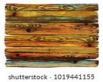 colorful shabby wooden board.... | Shutterstock .eps vector #1019441155