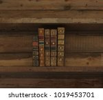 vintage books on wooden shelf. | Shutterstock . vector #1019453701
