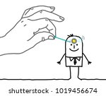 big hand putting a microchip in ... | Shutterstock .eps vector #1019456674