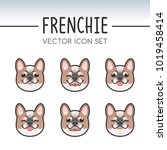 cute french bulldog dog breed... | Shutterstock .eps vector #1019458414