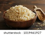 cooked whole grain brown rice... | Shutterstock . vector #1019461927